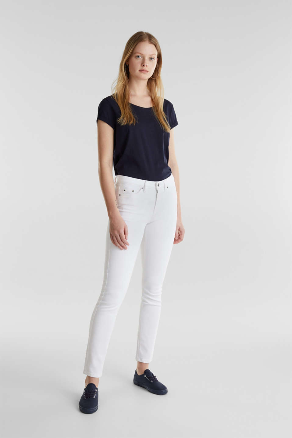 Ankle-length jeans in a vintage look, WHITE, detail image number 1