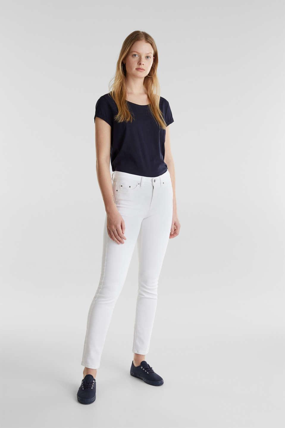 Ankle-length basic jeans, WHITE, detail image number 1