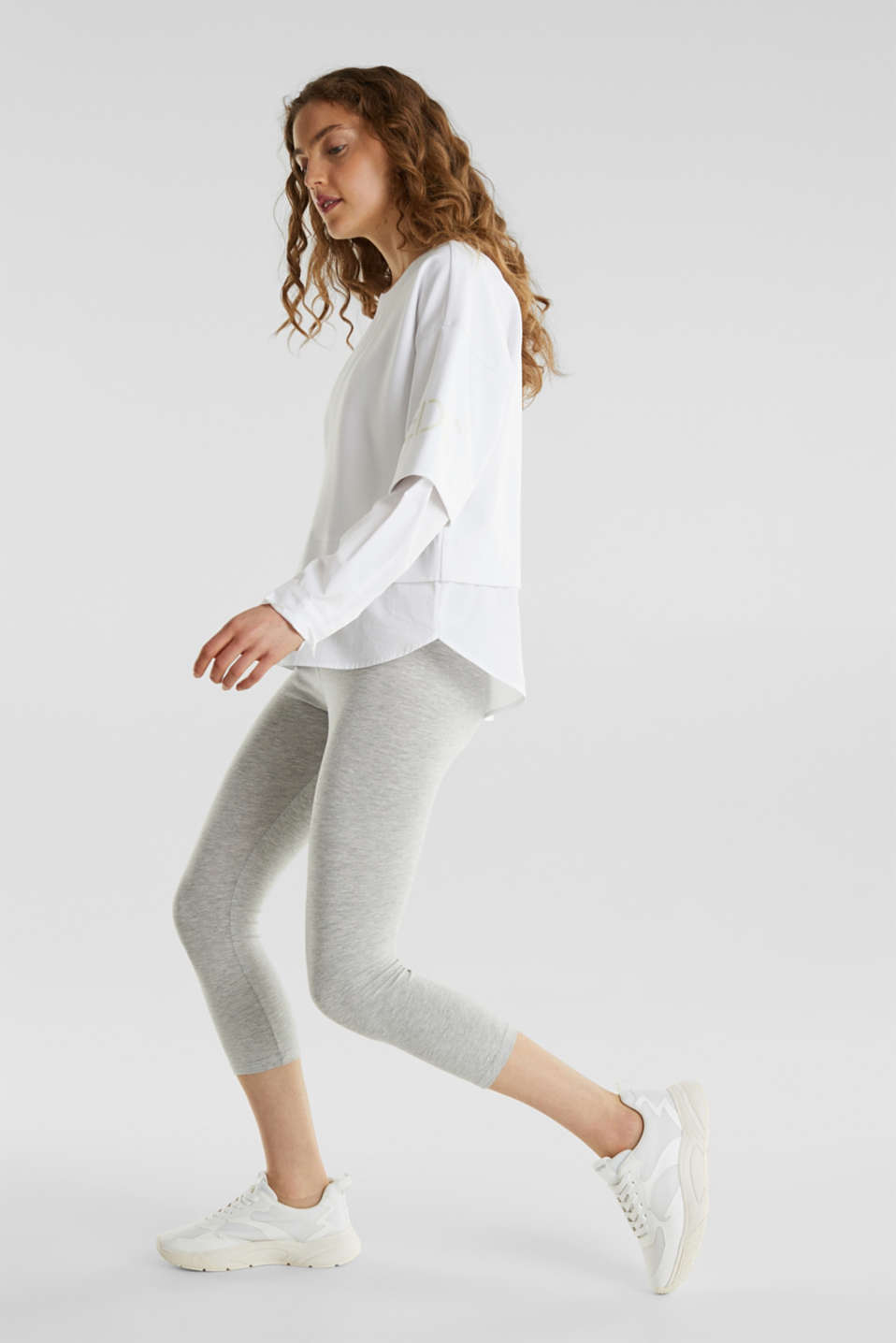 Opaque capri leggings, LIGHT GREY 5, detail image number 1