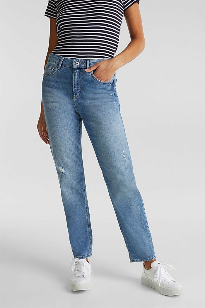 Jeans with vintage details, BLUE LIGHT WASHED, detail image number 0