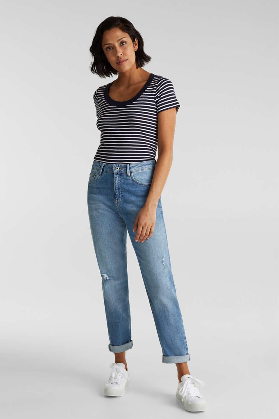 Jeans with vintage details, BLUE LIGHT WASH, detail image number 1