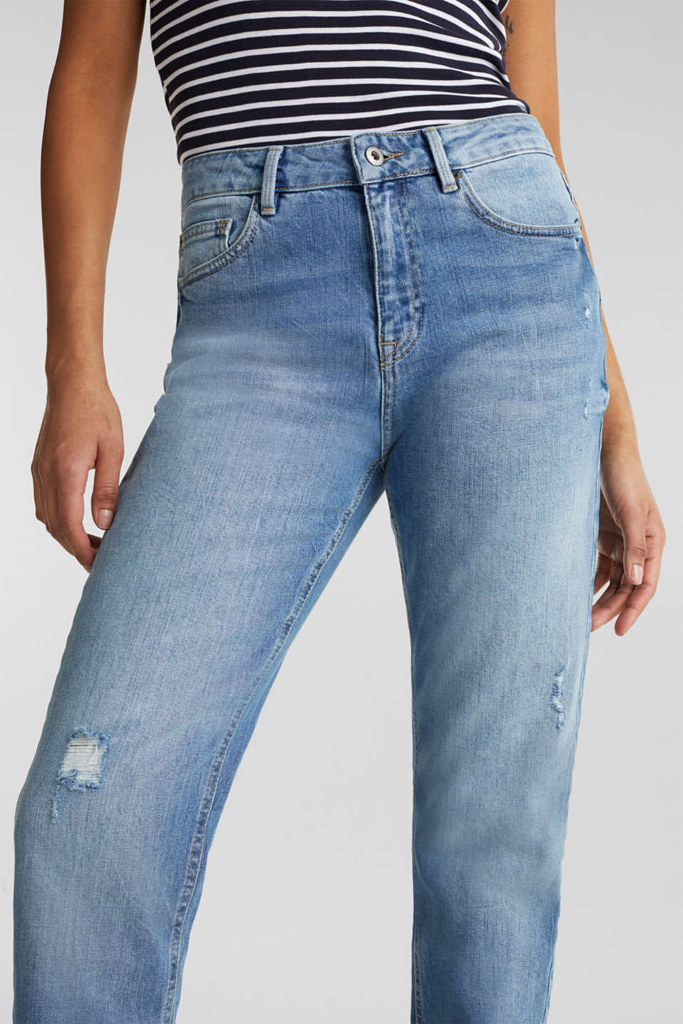 Jeans with vintage details, BLUE LIGHT WASH, detail image number 2