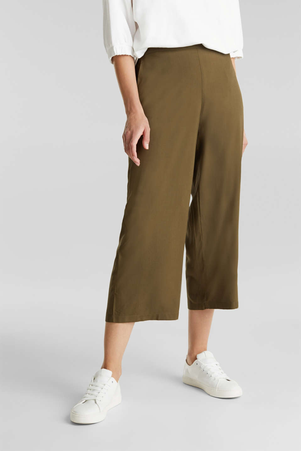 Culottes with an elasticated waistband, KHAKI GREEN, detail image number 0