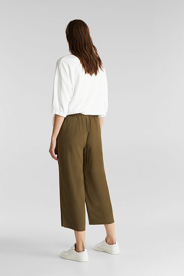 Culottes with an elasticated waistband, KHAKI GREEN, detail image number 3
