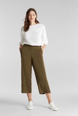 Culottes with an elasticated waistband, KHAKI GREEN, detail