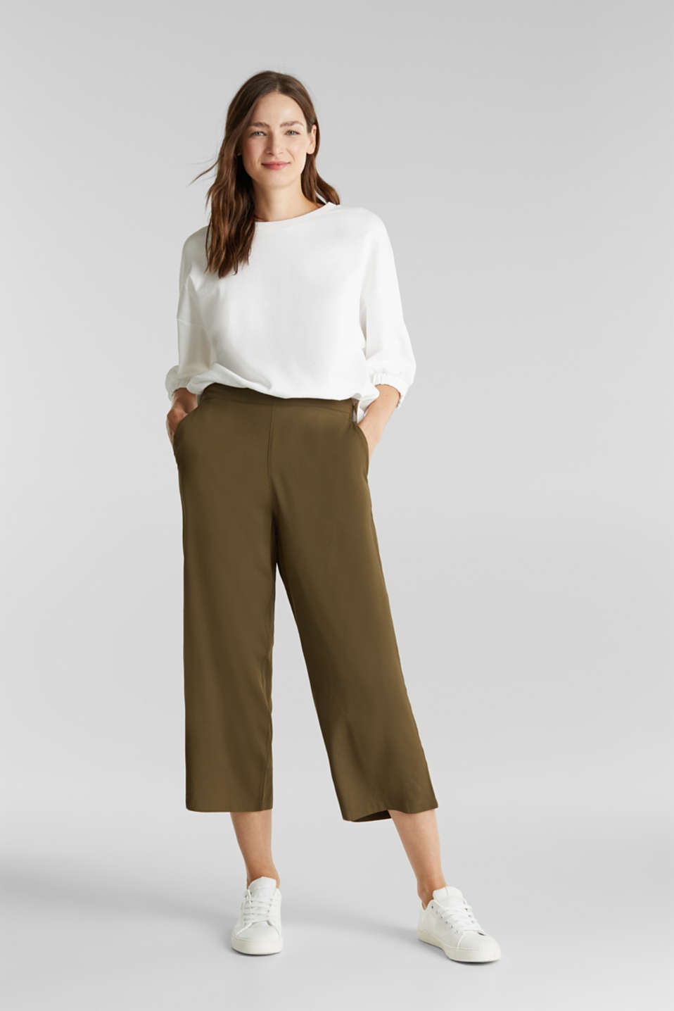 Culottes with an elasticated waistband, KHAKI GREEN, detail image number 1