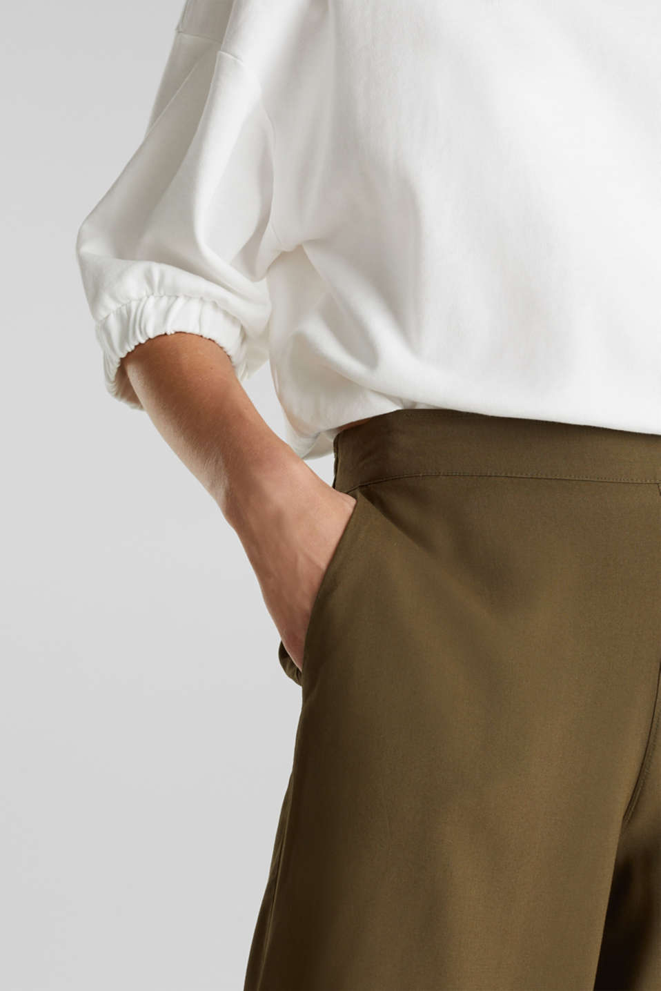 Culottes with an elasticated waistband, KHAKI GREEN, detail image number 2