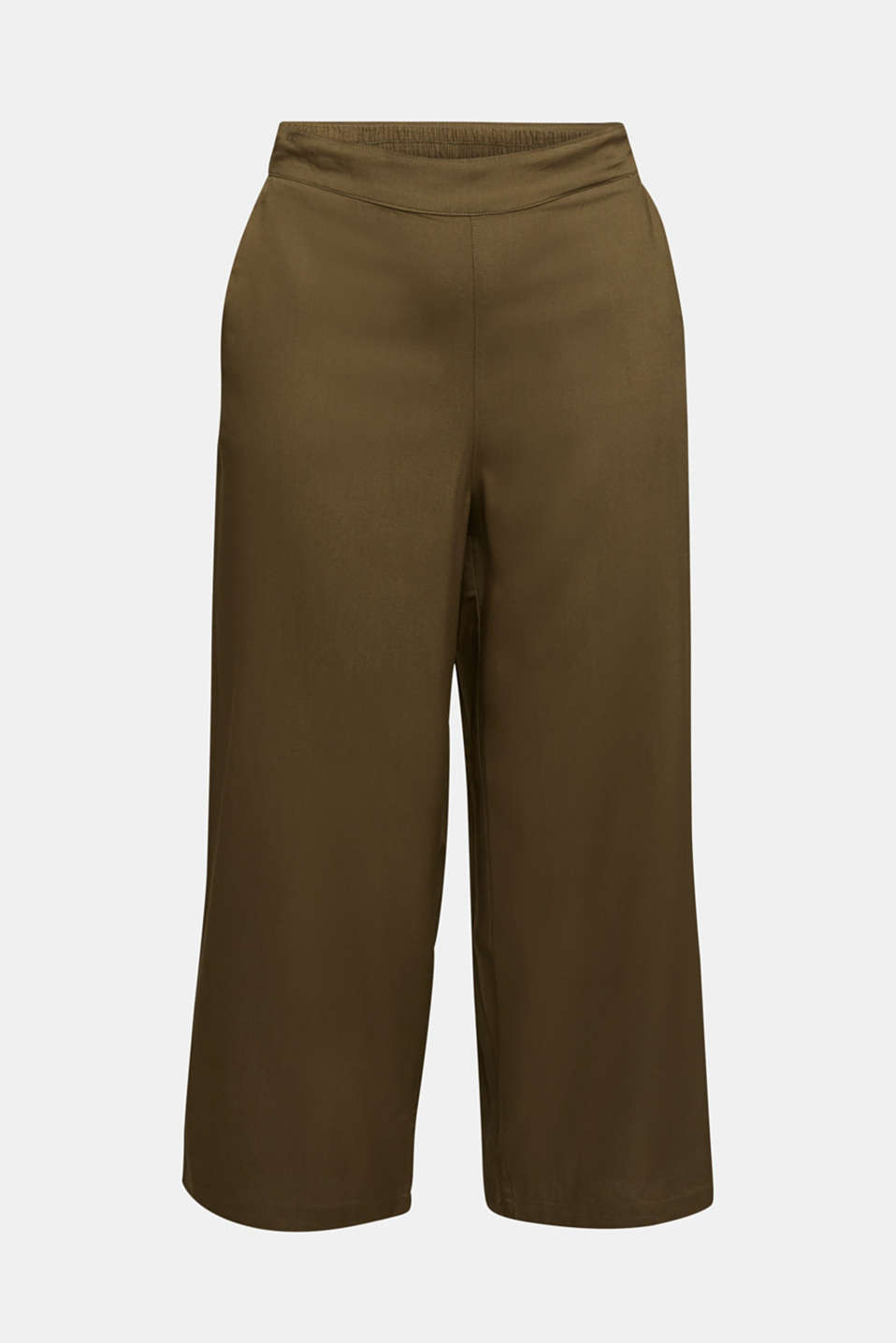 Culottes with an elasticated waistband, KHAKI GREEN, detail image number 5