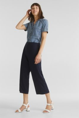 Culottes with an elasticated waistband, NAVY, detail