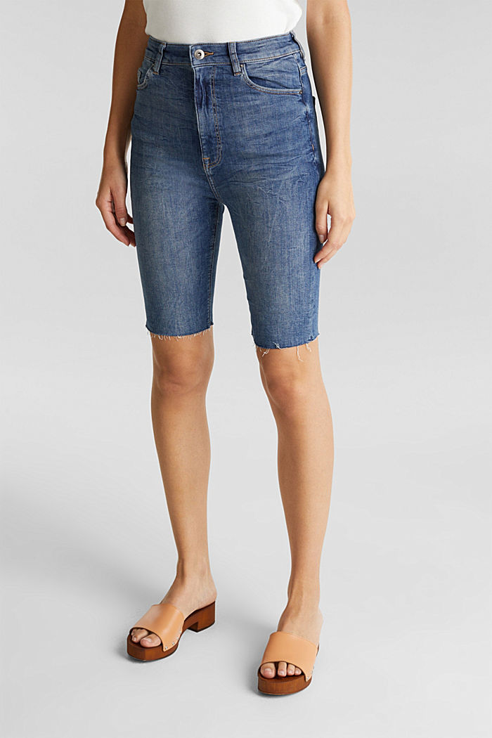 Super stretch Bermudas with a high waistband, BLUE MEDIUM WASHED, detail image number 0