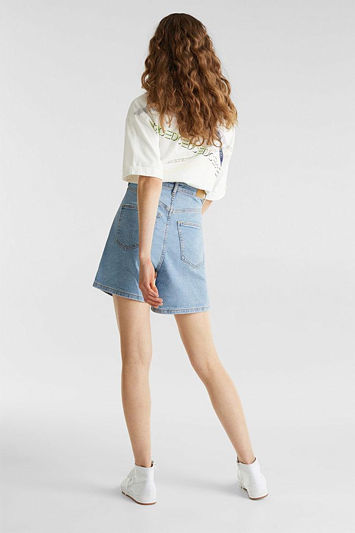 High-rise denim shorts, BLUE LIGHT WASHED, detail image number 3