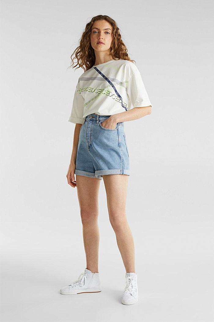 High-rise denim shorts, BLUE LIGHT WASHED, detail image number 1