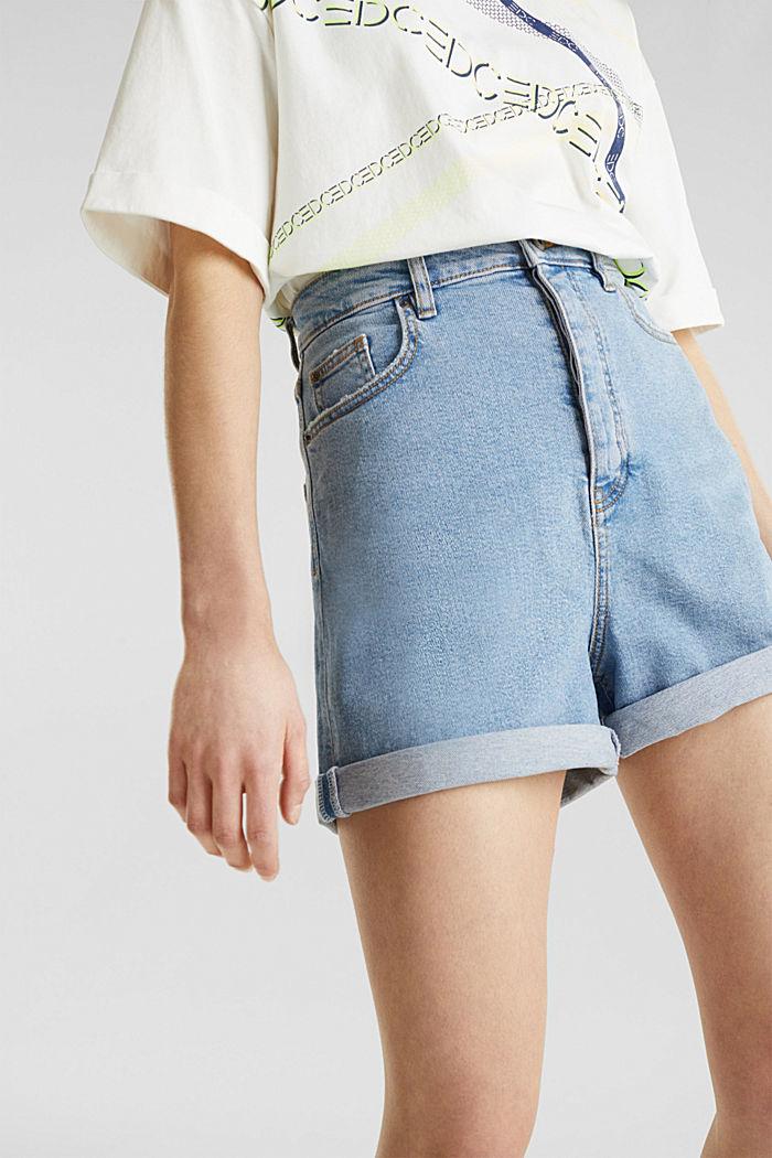 High-rise denim shorts, BLUE LIGHT WASHED, detail image number 2