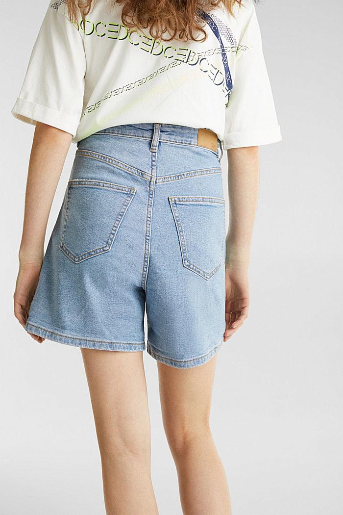 High-rise denim shorts, BLUE LIGHT WASHED, detail image number 5