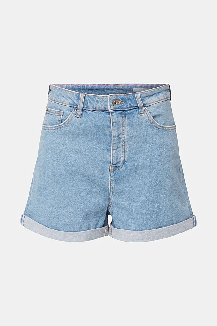 High-Rise-Shorts aus Denim, BLUE LIGHT WASHED, overview