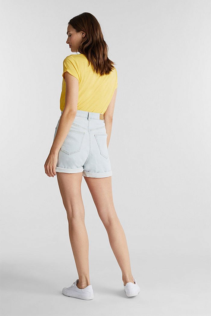 High-rise denim shorts, BLUE BLEACHED, detail image number 3