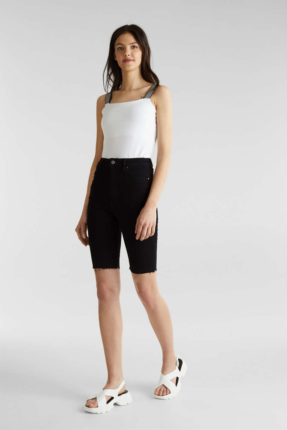 Super stretch Bermudas with a high waistband, BLACK RINSE, detail image number 1