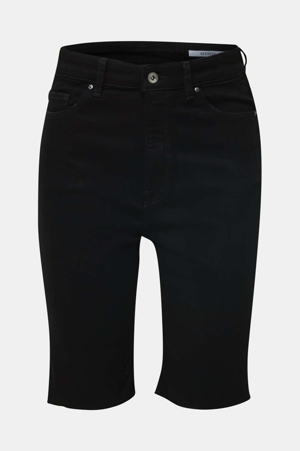 Super stretch Bermudas with a high waistband, BLACK RINSE, detail image number 7