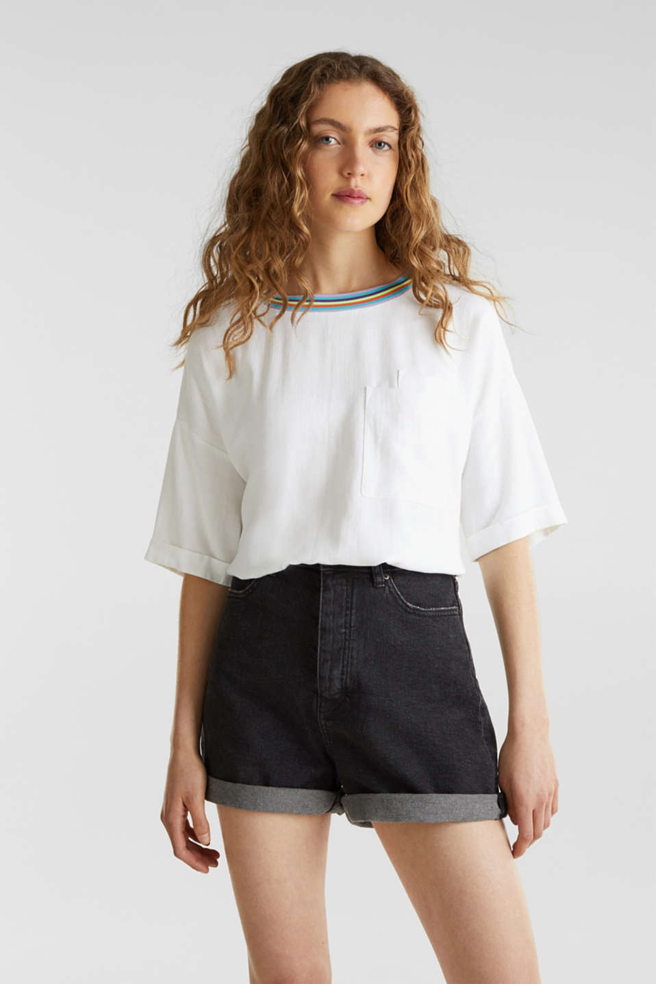 edc - High-Waist-Shorts, Denim
