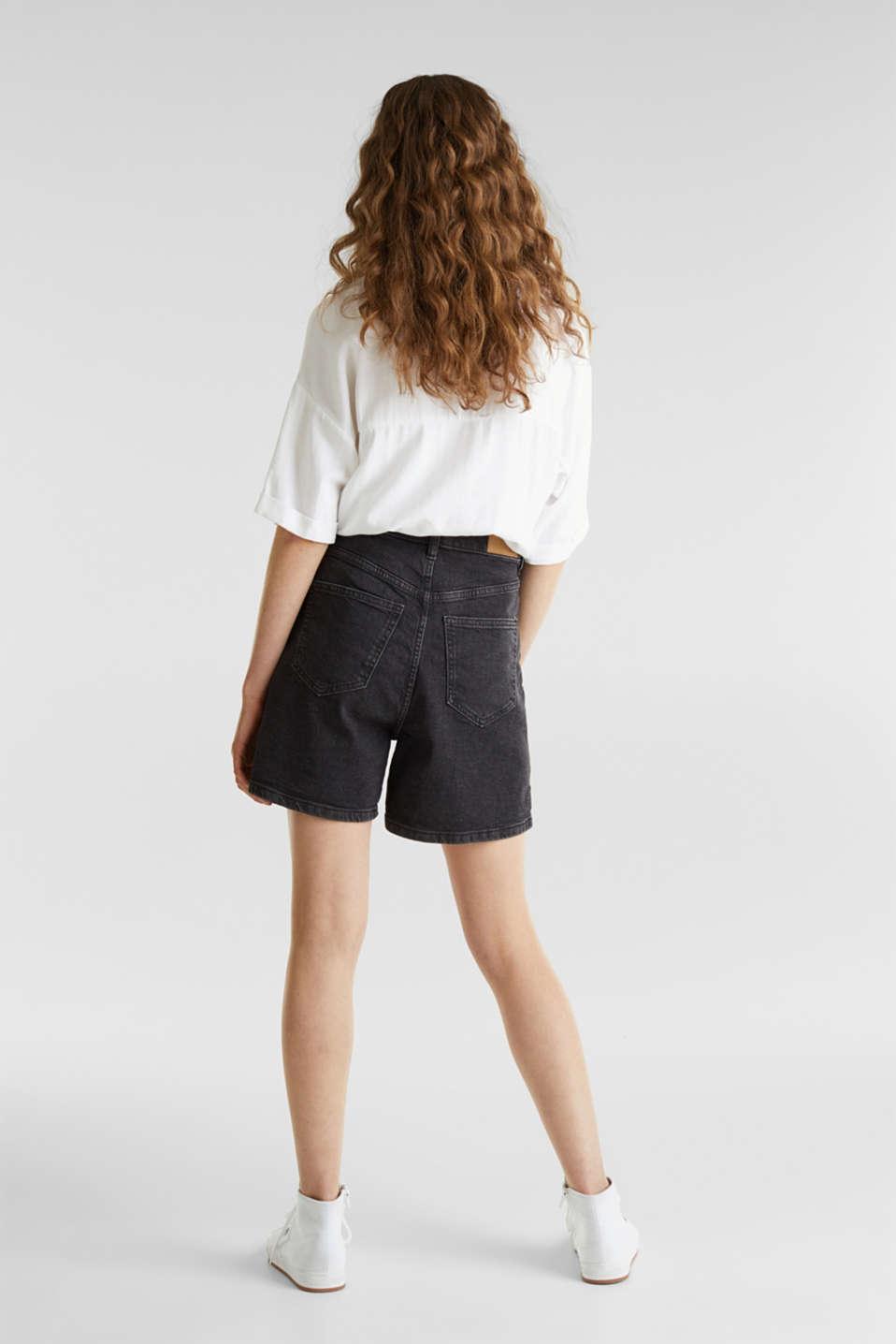 High-waisted denim shorts, BLACK MEDIUM WASH, detail image number 3