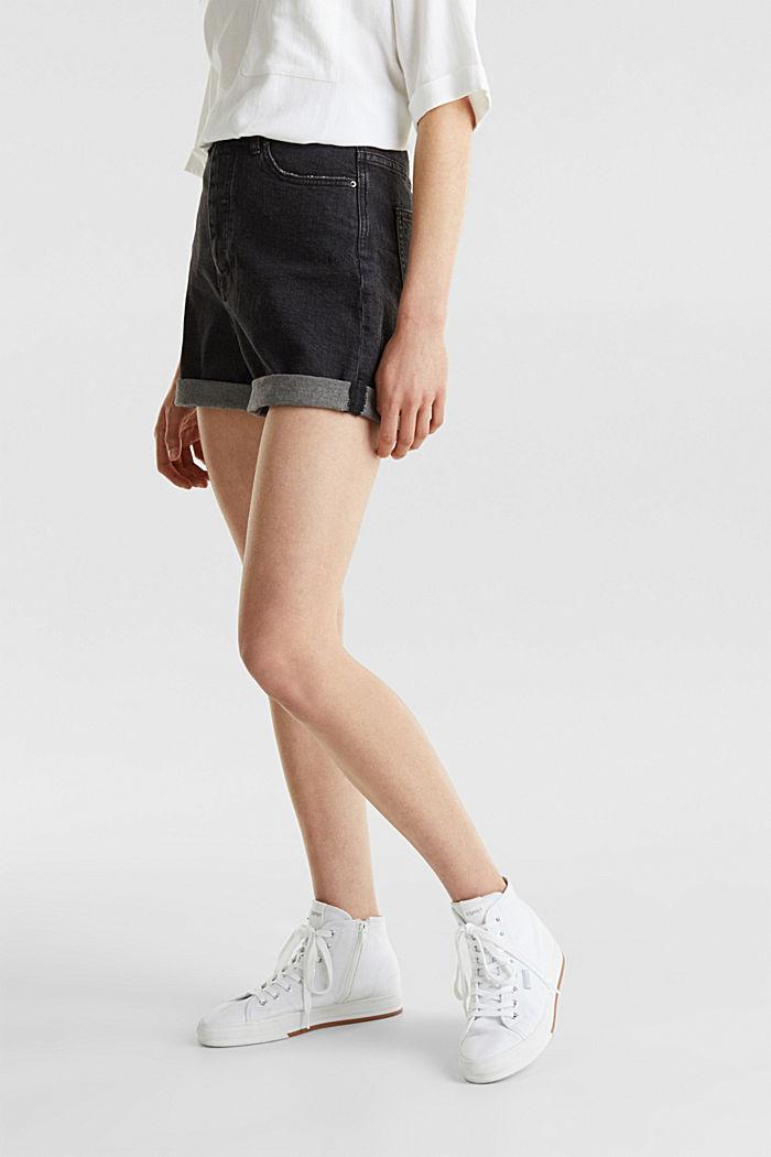 High-Waist-Shorts, Denim, BLACK MEDIUM WASHED, detail image number 6