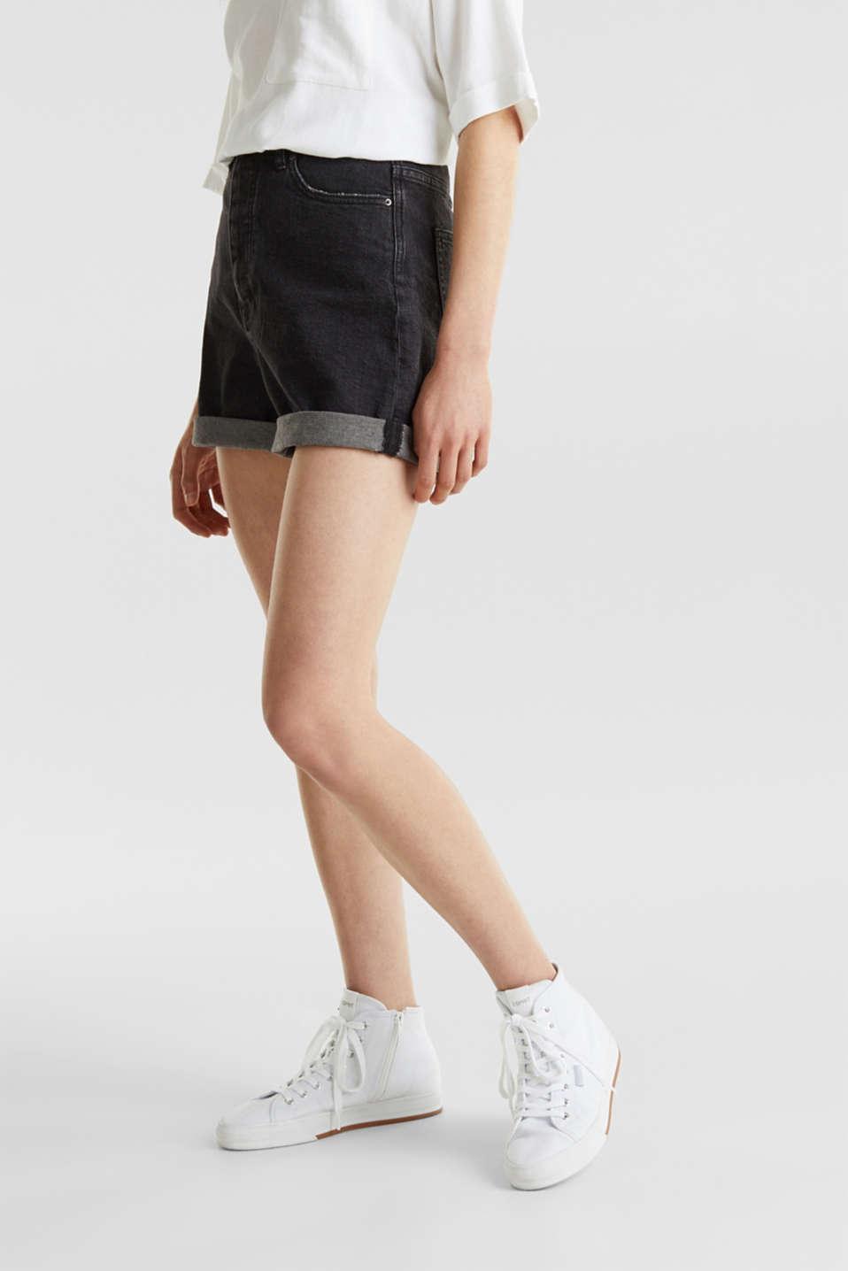 High-waisted denim shorts, BLACK MEDIUM WASH, detail image number 6