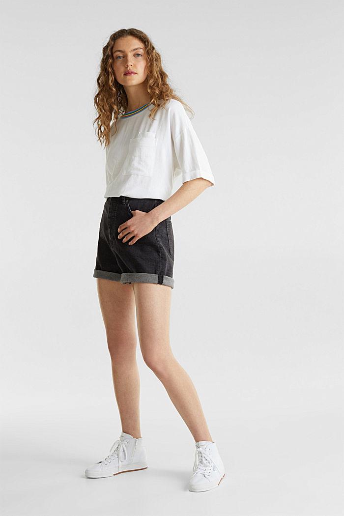 High-Waist-Shorts, Denim, BLACK MEDIUM WASHED, detail image number 1
