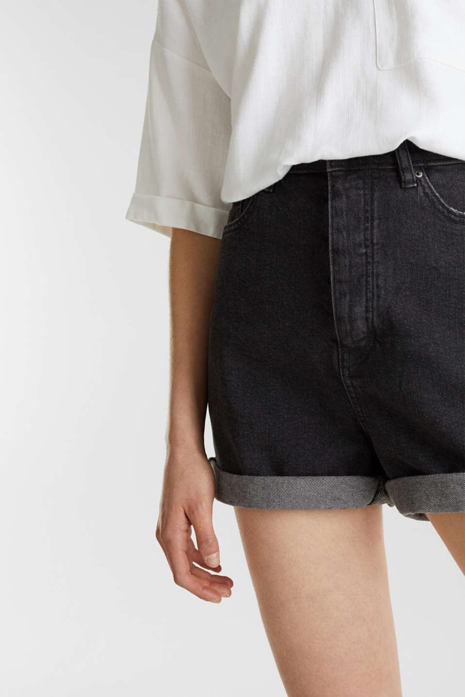 High-waisted denim shorts, BLACK MEDIUM WASH, detail image number 2
