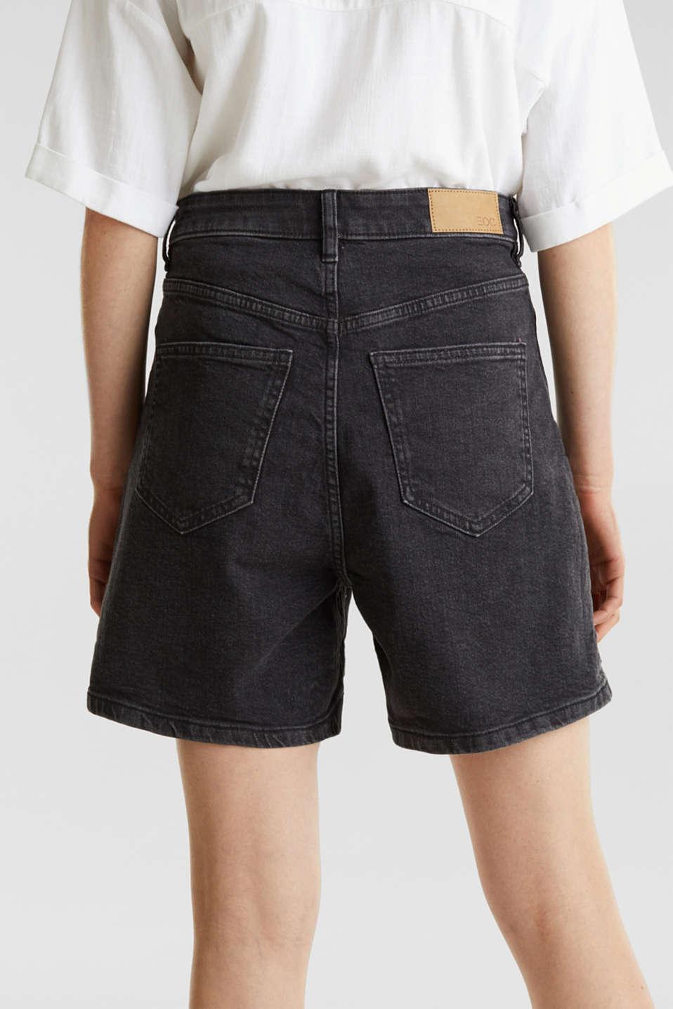 High-waisted denim shorts, BLACK MEDIUM WASH, detail image number 5
