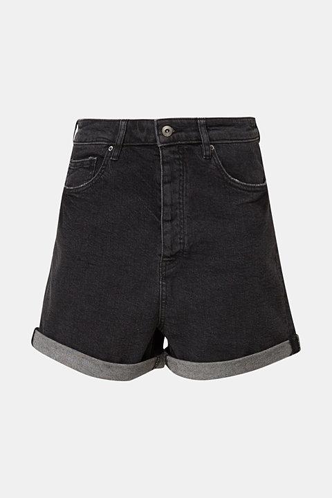 High-rise shorts in black denim