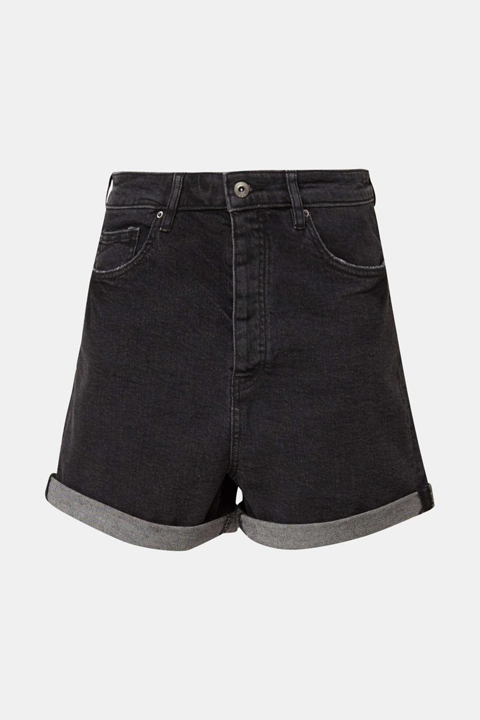 High-waisted denim shorts, BLACK MEDIUM WASH, detail image number 7