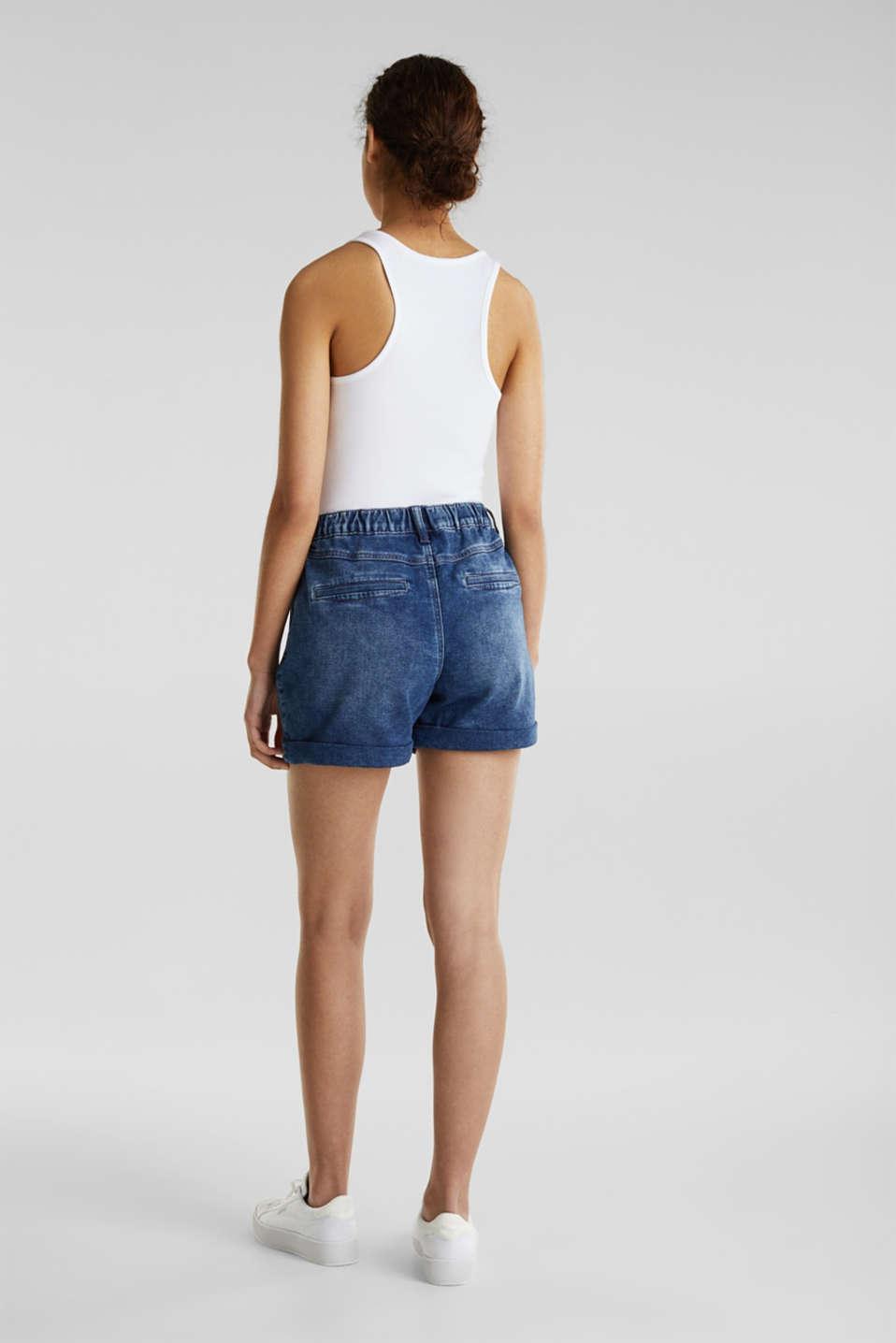Denim shorts in tracksuit material, BLUE DARK WASH, detail image number 2