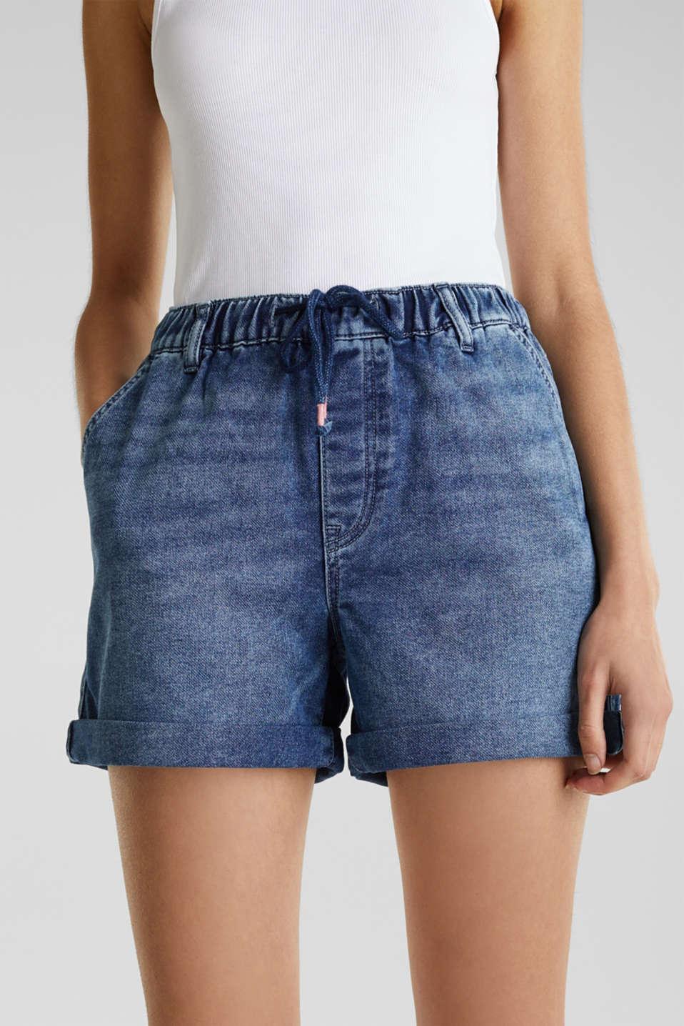 Denim shorts in tracksuit material, BLUE DARK WASH, detail image number 5