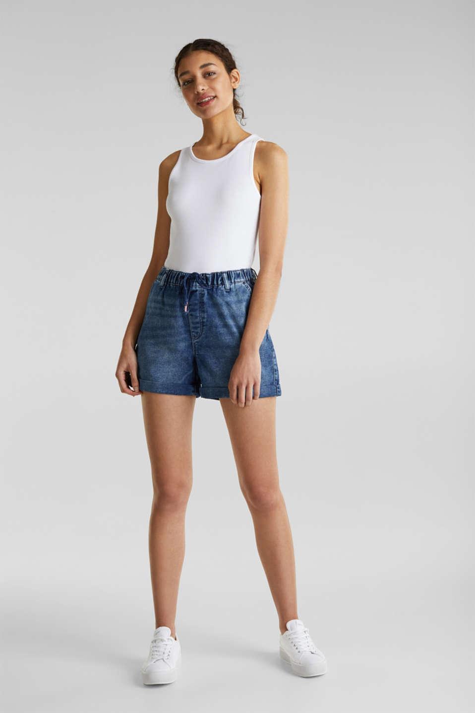Denim shorts in tracksuit material, BLUE DARK WASH, detail image number 1