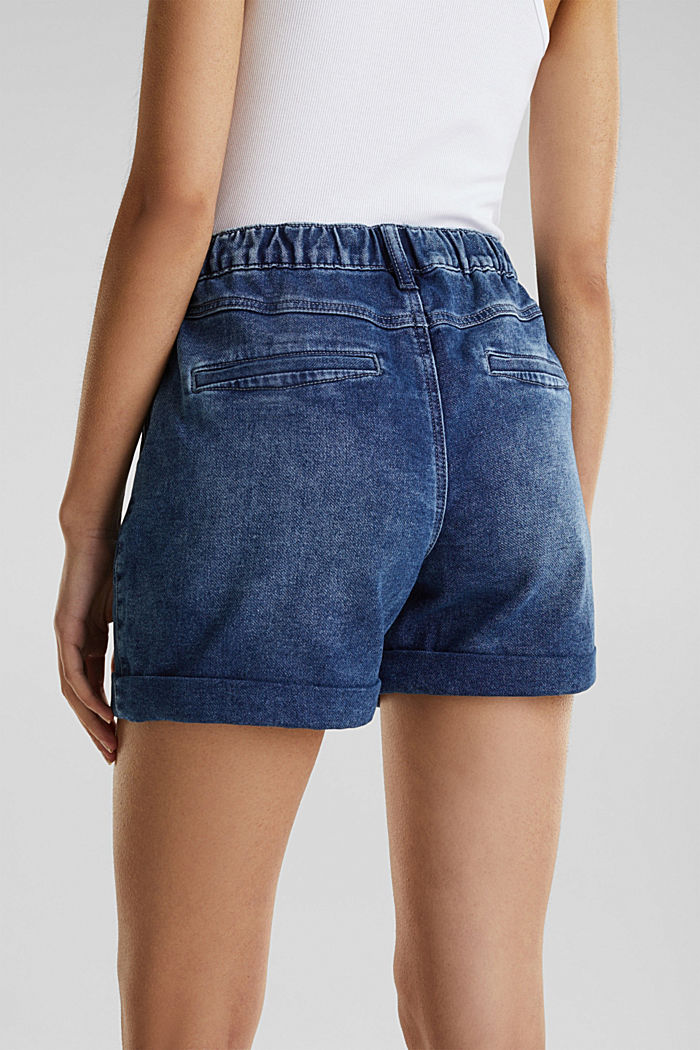 Denim-Shorts in Jogger-Qualität, BLUE DARK WASHED, detail image number 4