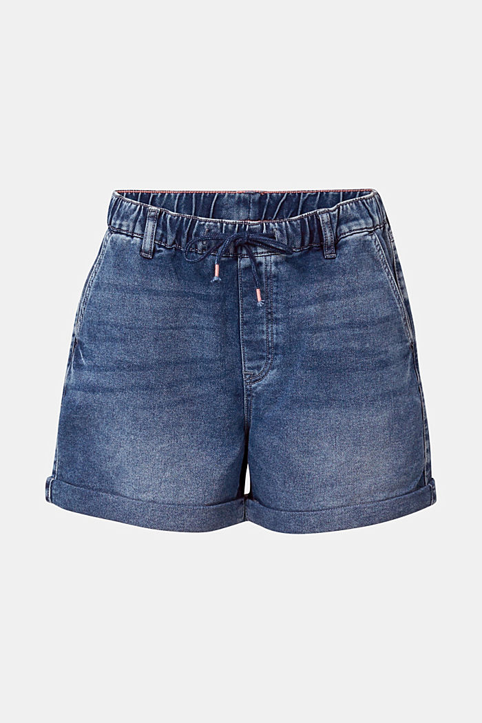 Denim-Shorts in Jogger-Qualität, BLUE DARK WASHED, detail image number 6