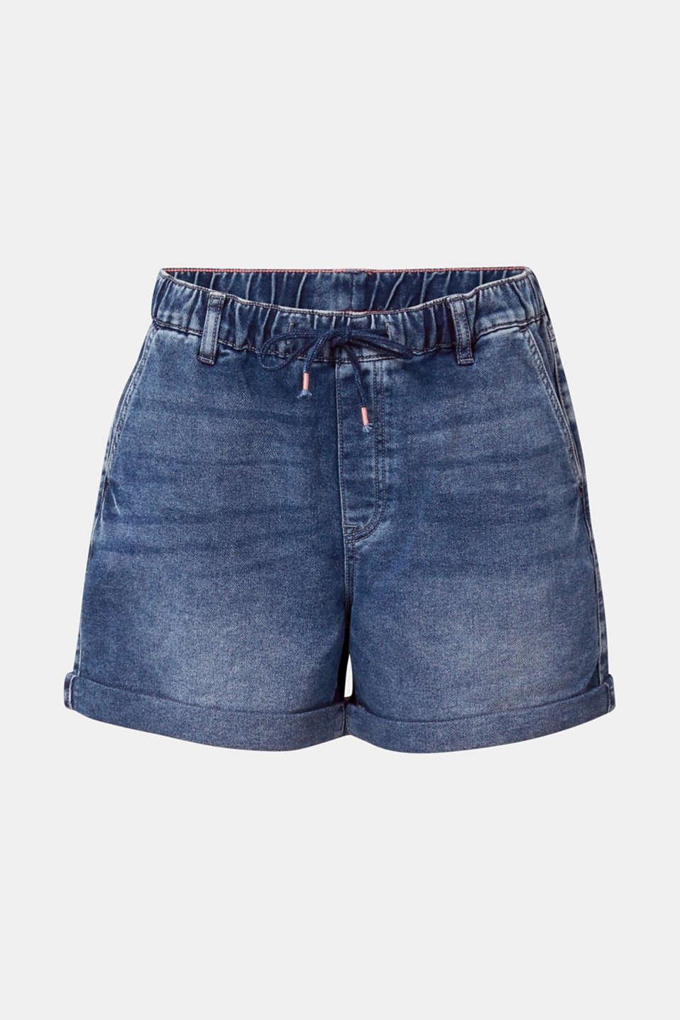 Denim shorts in tracksuit material, BLUE DARK WASH, detail image number 6