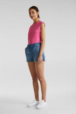 Denim shorts in tracksuit material, BLUE MEDIUM WASH, detail