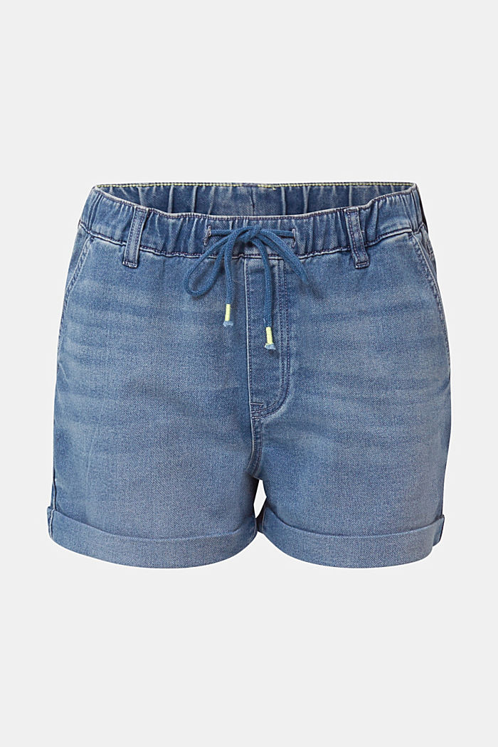 Denim shorts in tracksuit material, BLUE MEDIUM WASHED, detail image number 5