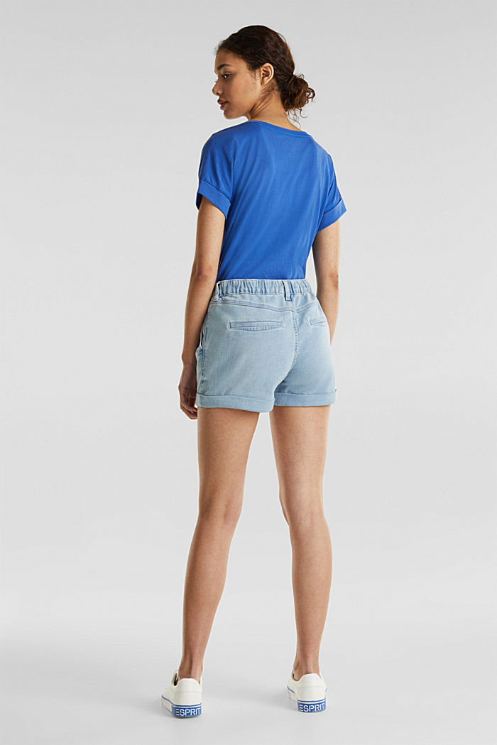 Denim-Shorts in Jogger-Qualität, BLUE LIGHT WASHED, detail image number 3