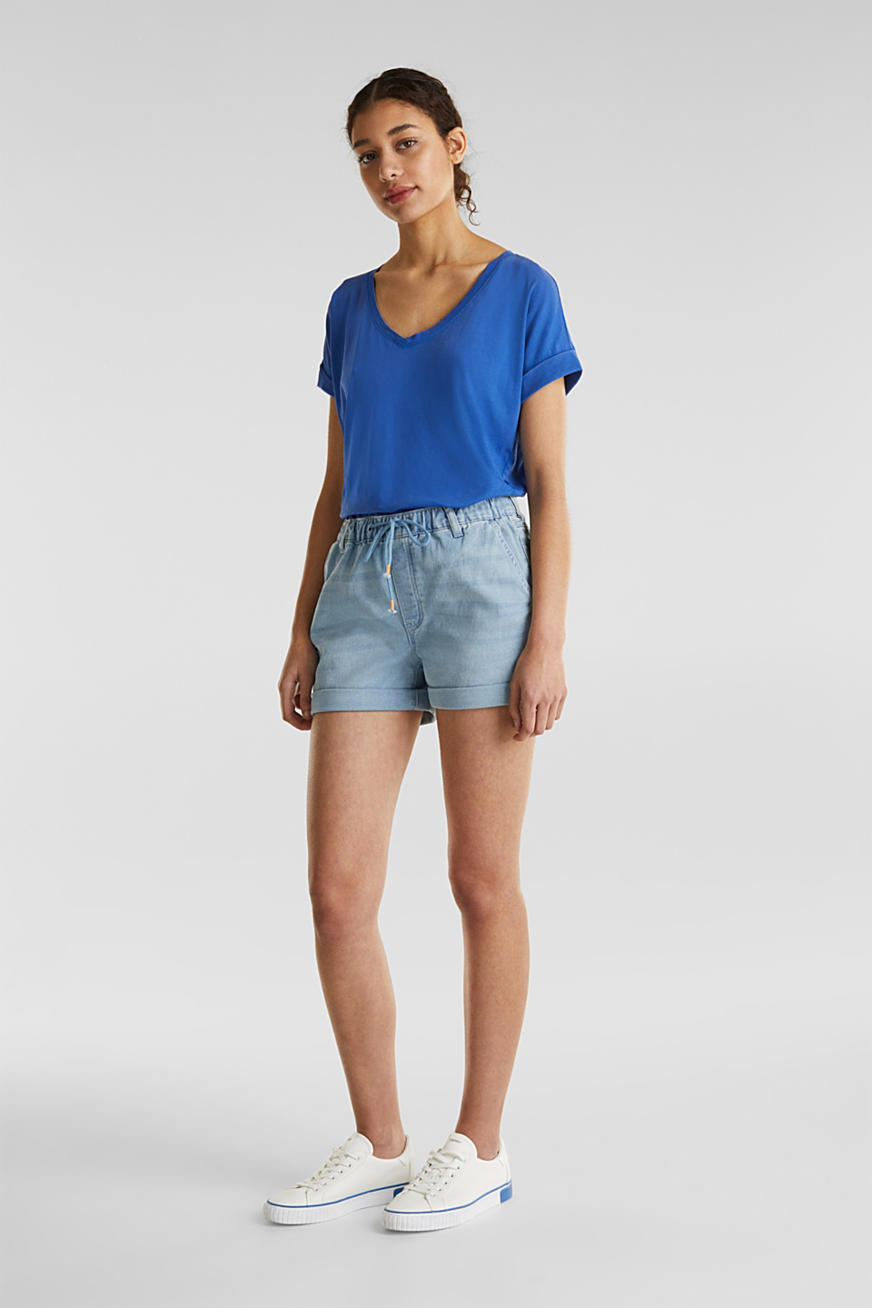 Denim short van joggingstof