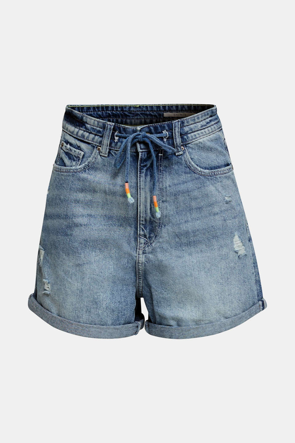 High-waisted denim shorts, BLUE LIGHT WASH, detail image number 7