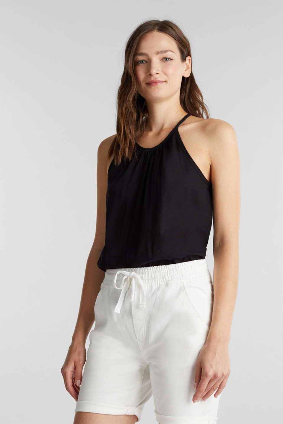 Shorts with an elasticated waistband, WHITE, detail image number 0