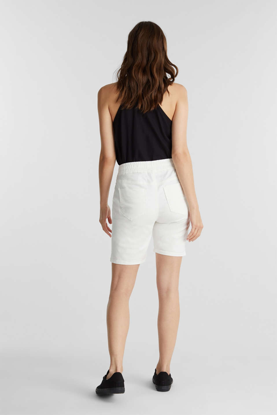 Shorts with an elasticated waistband, WHITE, detail image number 3