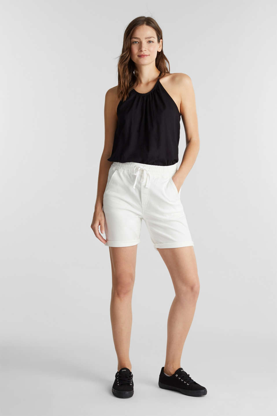 Shorts with an elasticated waistband, WHITE, detail image number 1