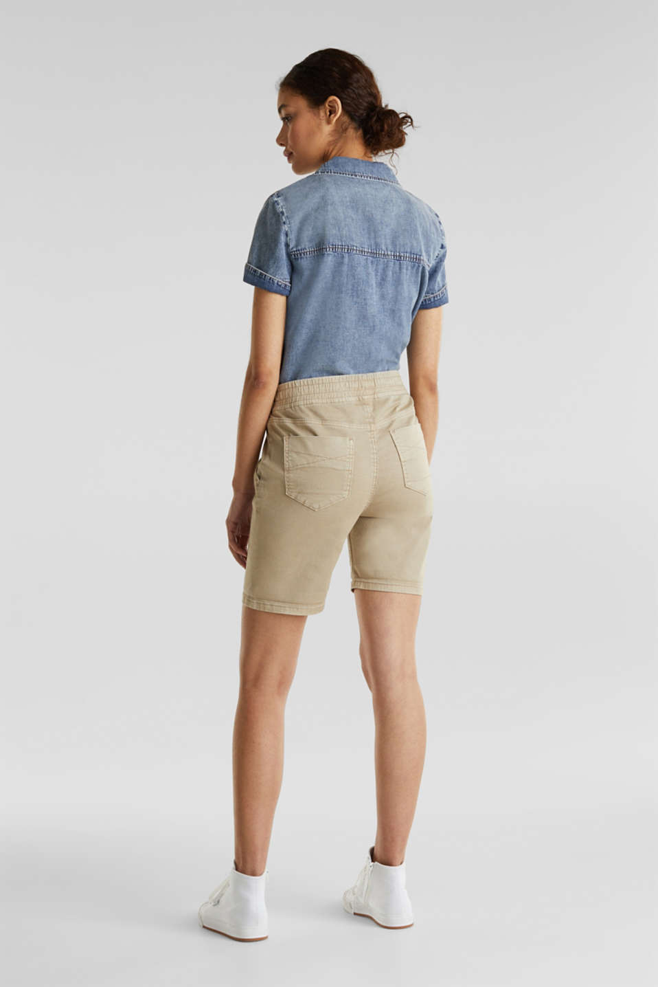 Shorts with an elasticated waistband, KHAKI BEIGE, detail image number 2