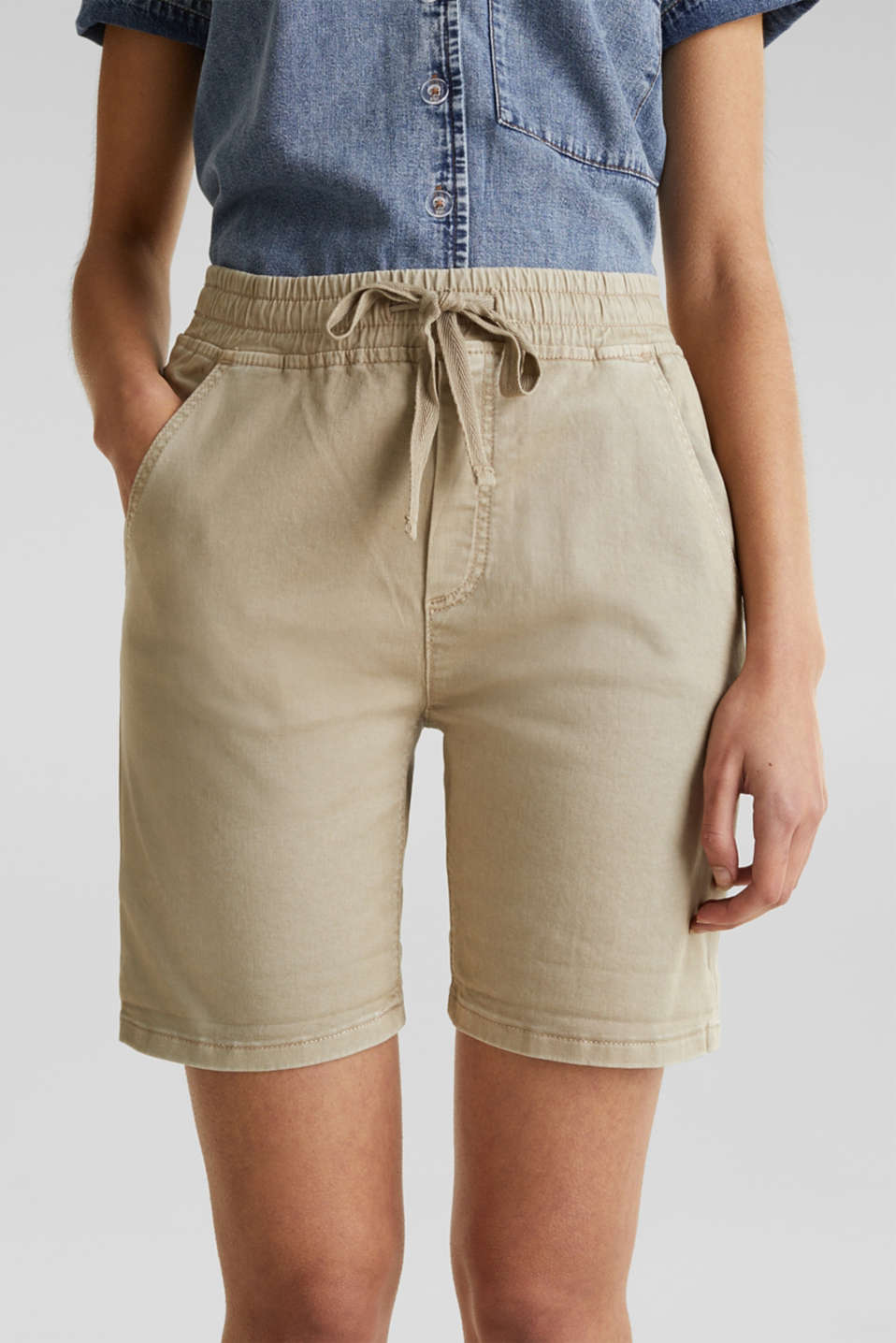 Shorts with an elasticated waistband, KHAKI BEIGE, detail image number 4