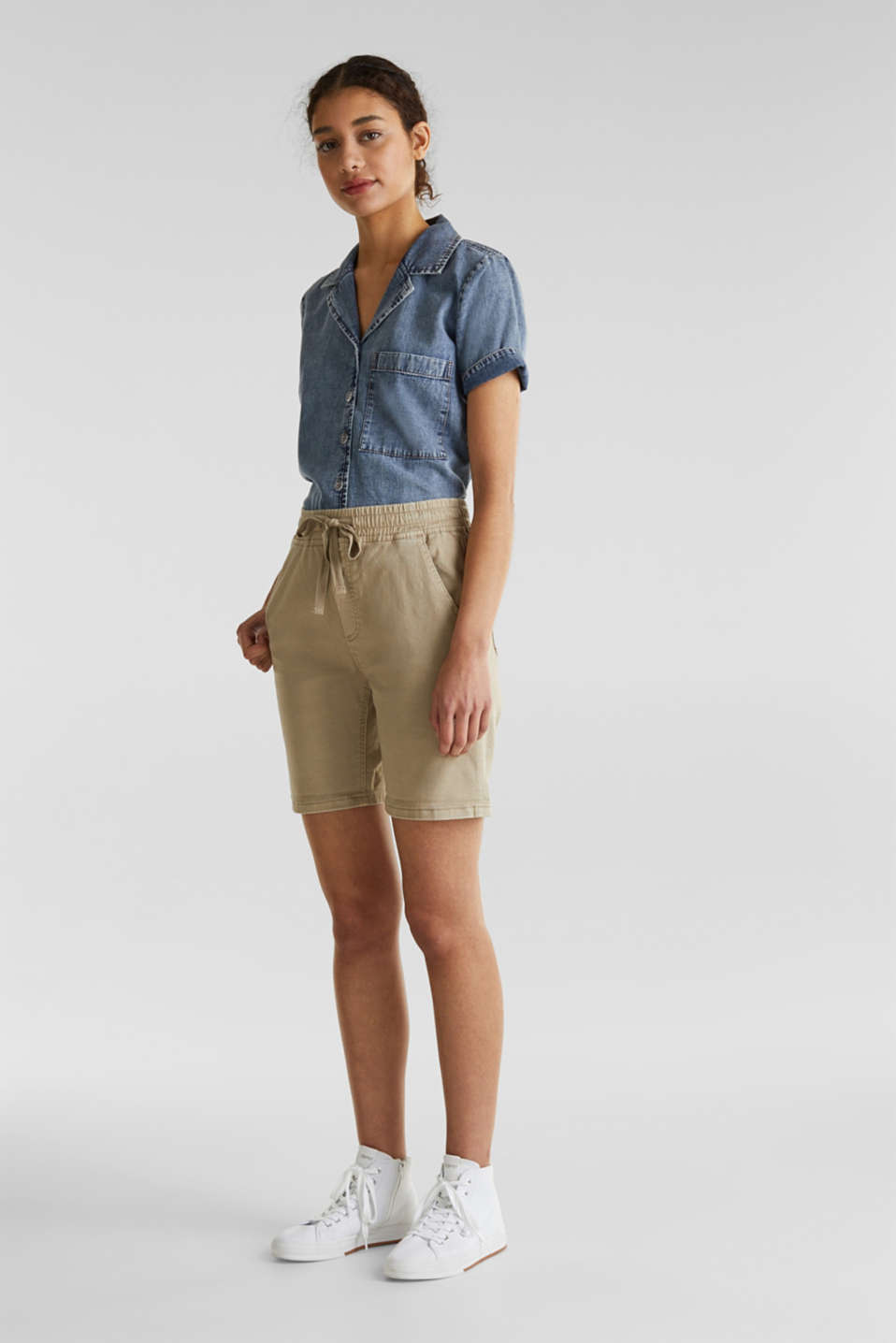 Shorts with an elasticated waistband, KHAKI BEIGE, detail image number 1