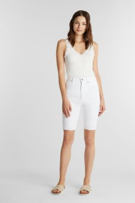 High-rise denim shorts, WHITE, detail