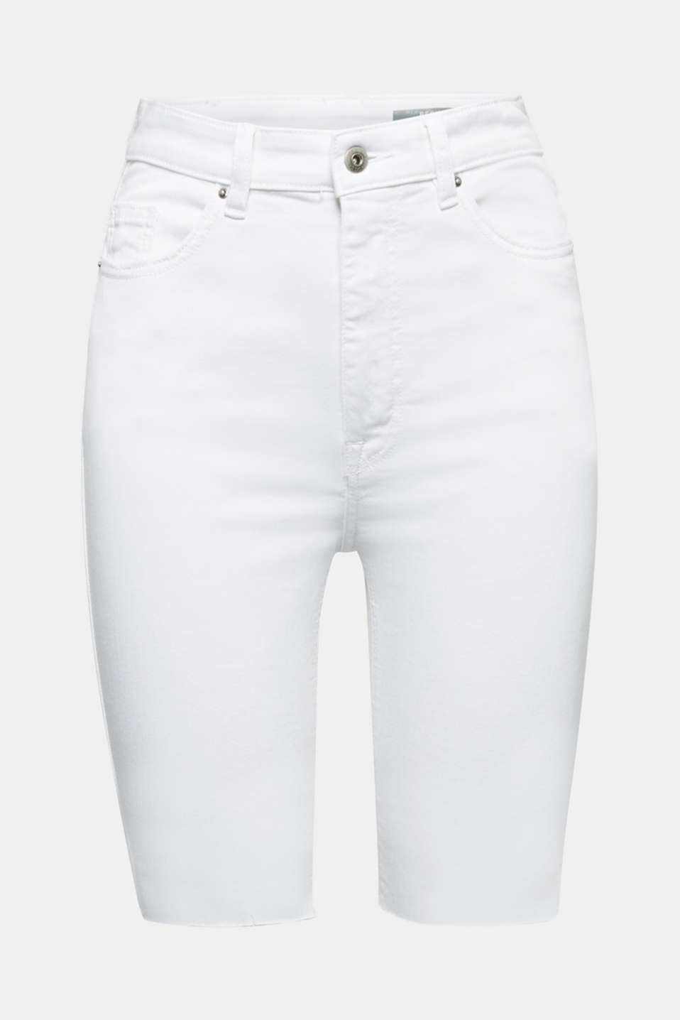 High-rise denim shorts, WHITE, detail image number 5